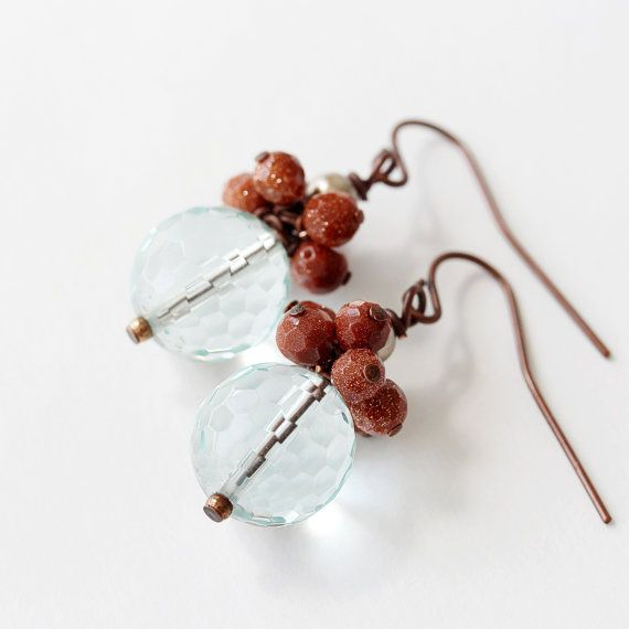 Aqua Quartz Red Stone and Pearl Beaded Dangle by TheGoosle on Etsy