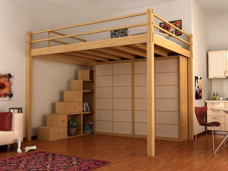 Cama alta de madera YEN | Cama alta - Cinius