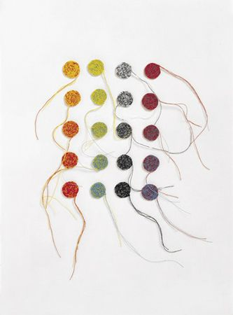 Anu Tuominen: red + yellow + blue + black + white (crocheting) 2003