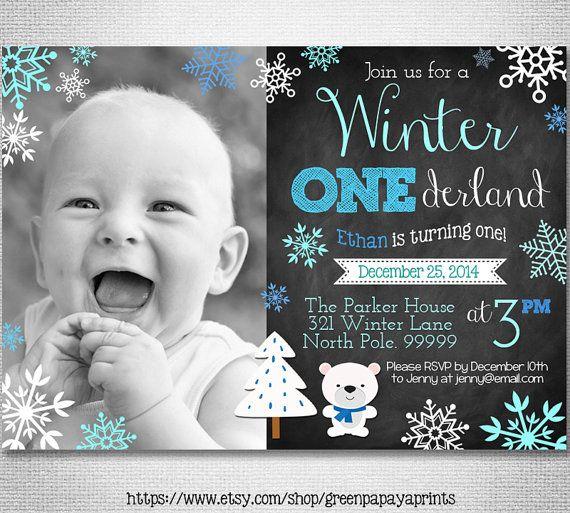 Boy's Winter Onederland Invitation  Digital by greenpapayaprints