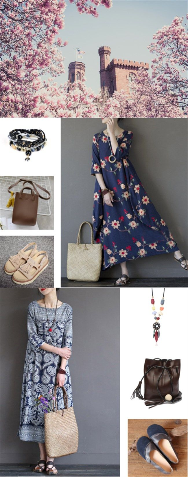 #summer outfits#fairy lady#flower dress # #retro look   printed maxi dress+brown square bag+color clocking  bracelet +beige sandals