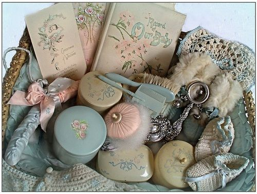 vintage nursery basket with related items ... photo by monica roberts