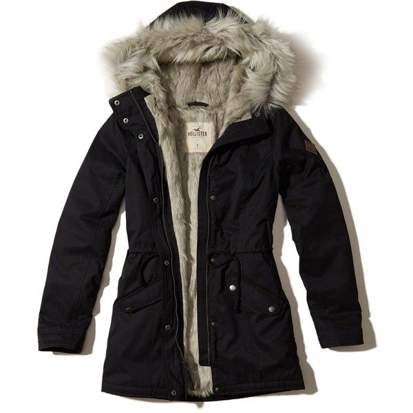 Hollister Faux Fur Lined Parka ($160) ❤ liked on Polyvore featuring outerwear, coats, black, hooded coat, faux fur trim coats, cinch coats, faux fur lined parkas and faux fur lining coat