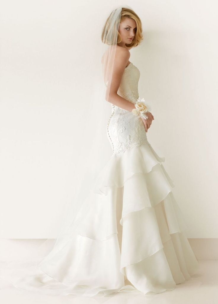 My dream gown! Strapless Mermaid Gown with Floral and Lace Detail - David's Bridal