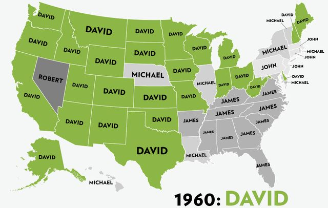 Maps of the Most Popular Baby Names for Boys From 1960 to 2012