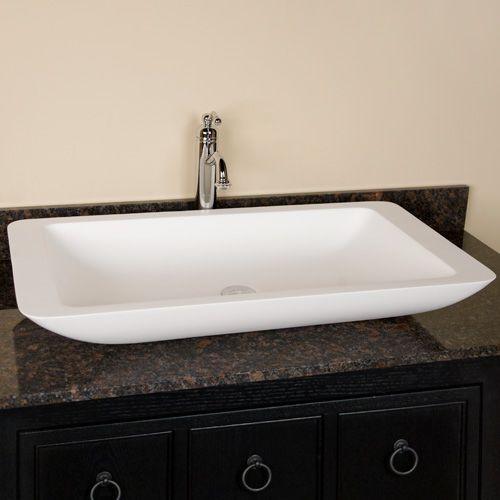 Jill Resin Vessel Sink White Matte Finish Bathroom