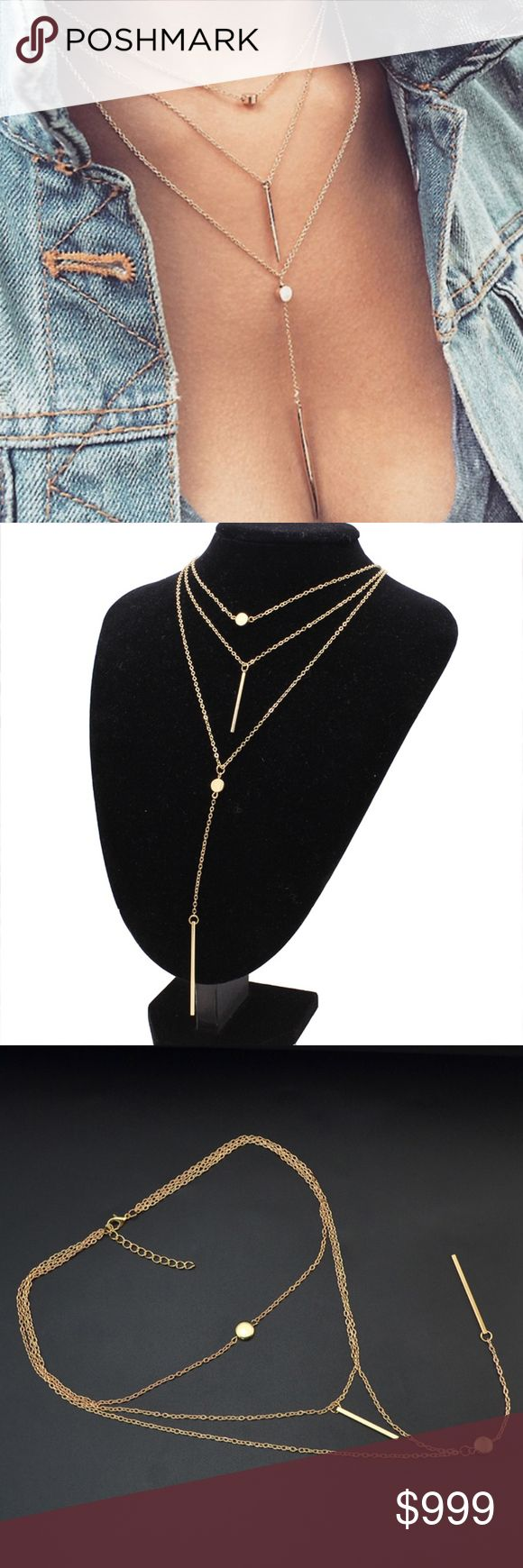 "COMING SOON! Boho Gold Layered Coin & Bar Necklace COMING SOON!! ""Like"" To Be Notified!! Brand new in original packaging. Trendy 2018 multilayer gold necklace! Simple boho chic style gold coin & vertical bar pendants of various lengths! Triple layered measurements: 17.7"" 19.3"" 22"" + extender for adjustable length. Pendant sizes: approx 3cm & 5cm. Also available in silver! Made of gold electroplated metal, nickel & lead free. All sales are final, please ask all questions prior to purchasing…"