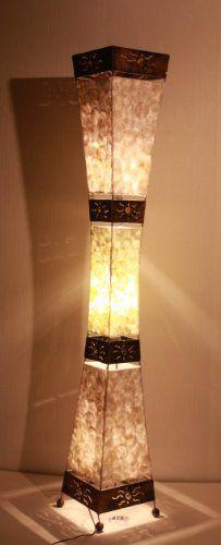 Asian Floor Lamps: Asian Floor Lamp Padang Tiga Shell (LA22-10/P), Designer Bali,Lighting