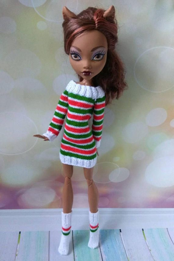 Christmas Monster High clothes Dress & socks for 17 inch MH