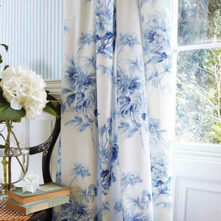 Blue Floral Living Room Curtains