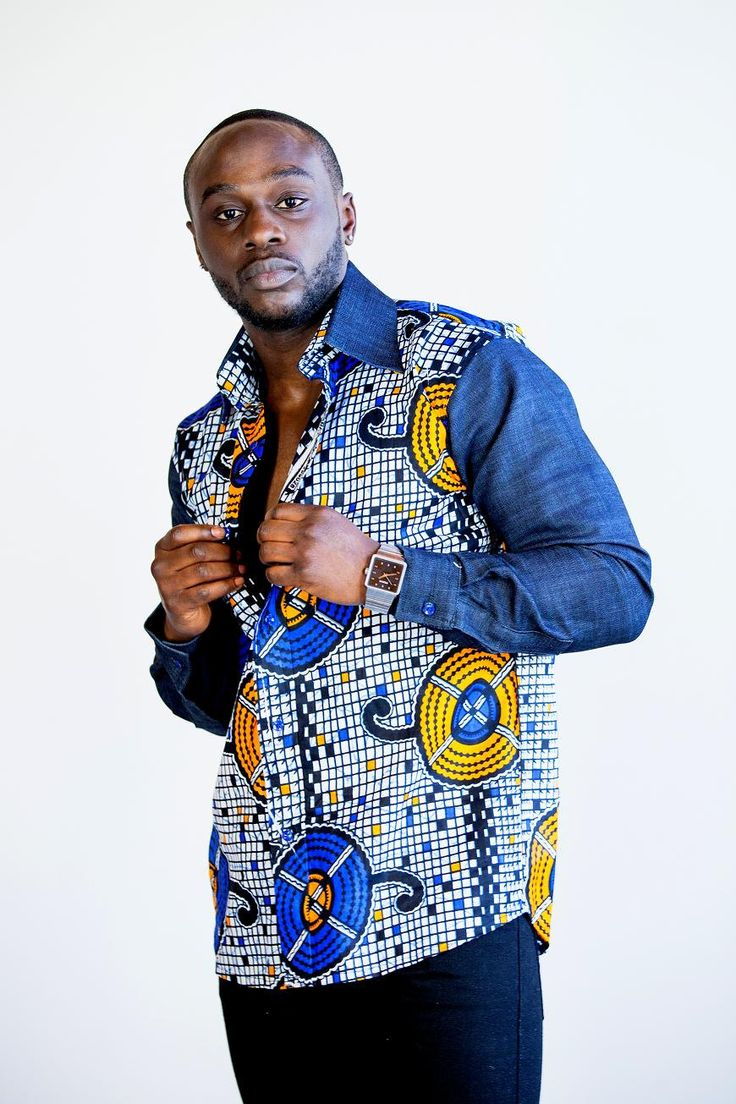 Shirt design in nigeria - Design Of A Diaspora Embezzlement Denim Sleeves Shirt