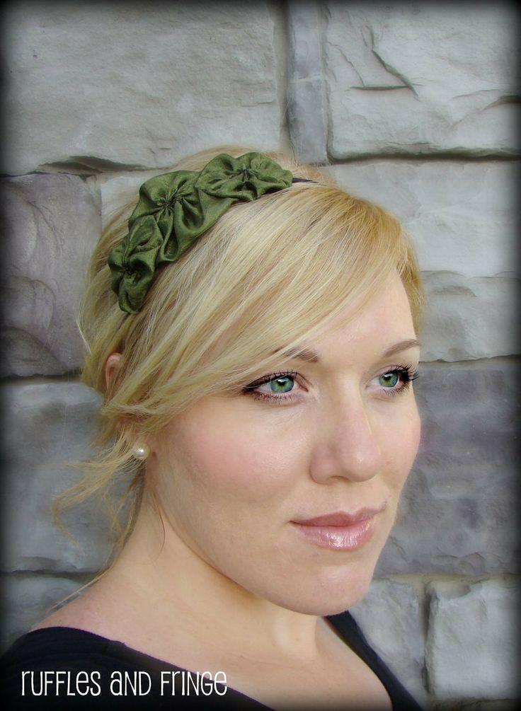 Olive Green Handmade Flower Hair Band  Rosette by RufflesAndFringe, $12.00