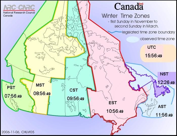 Standard Time (Winter Time Zones) | Web clock (Official times across Canada) | National Research Council Canada
