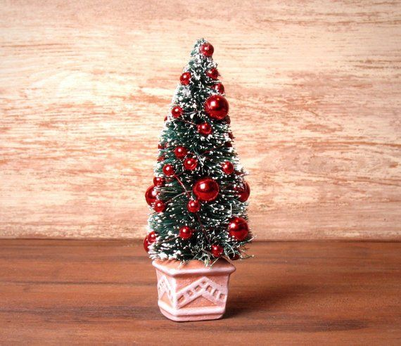 Charming Miniature Christmas Tree In Red In Crock For Your Dollhouse Miniature Christmas Trees Miniature Christmas Christmas Tree