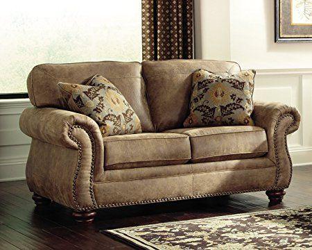 Ashley Furniture Signature Design - Larkinhurst Traditional Loveseat - Faux Weathered Leather Sofa - Earth: Kitchen & Dining