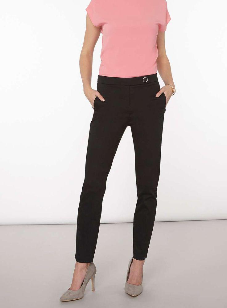 Womens **Tall Black Cotton Sateen Trousers- Black