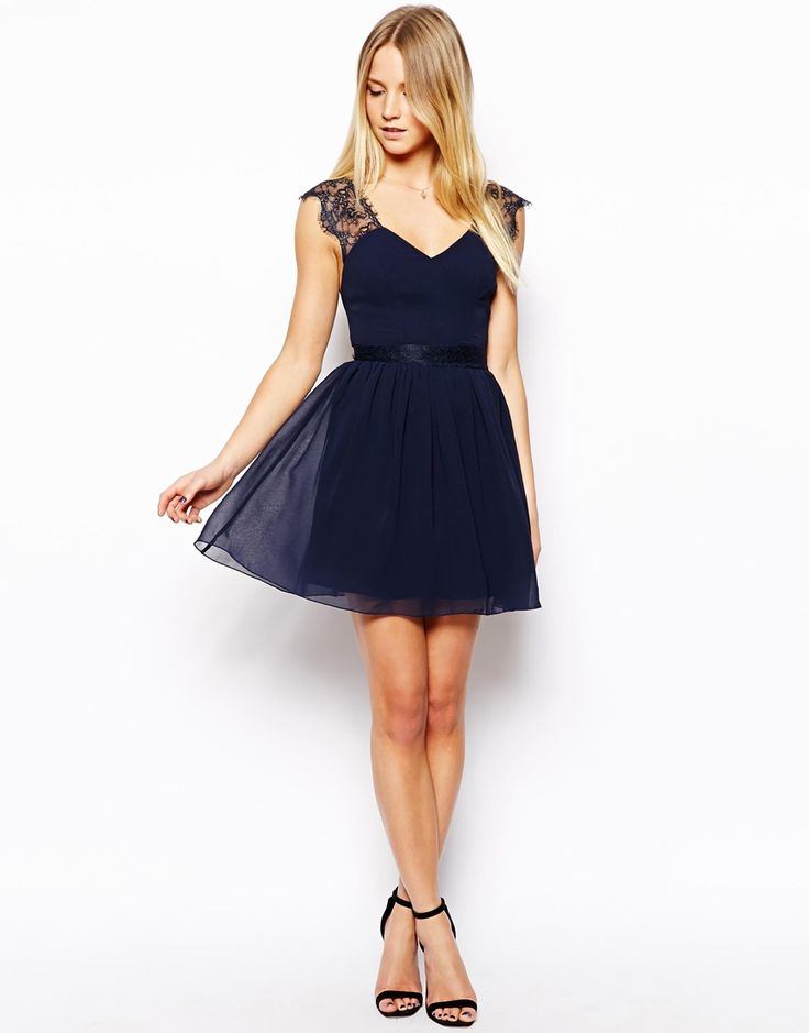 asos petite robe patineuse en dentelle frang e bleu