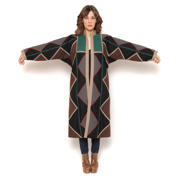 70s Blanket Coat Quilted Geometric Navajo Jacket Batwing Sleeves Long Length Southwestern Duster Boho 1970s Outerwear / OS One Size. $274.00, via Etsy.