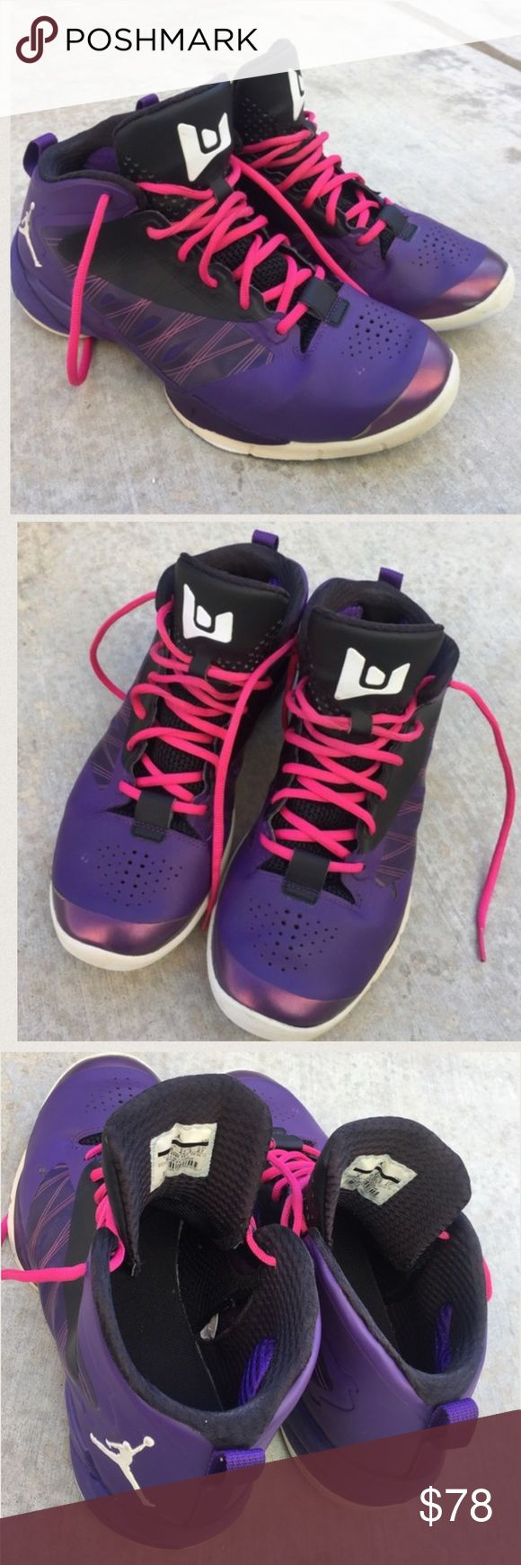Michael Jordan Lunarlon purple high top sneakers Good condition overall , size 9, the left side of left sneaker has a peeled area , the inside right side of left shoe has an opening / separated area as shown in picture , price as is , look at all pictures for your info, Michael Jordan Lunarlon Michael Jordan Lunarlon Shoes Athletic Shoes