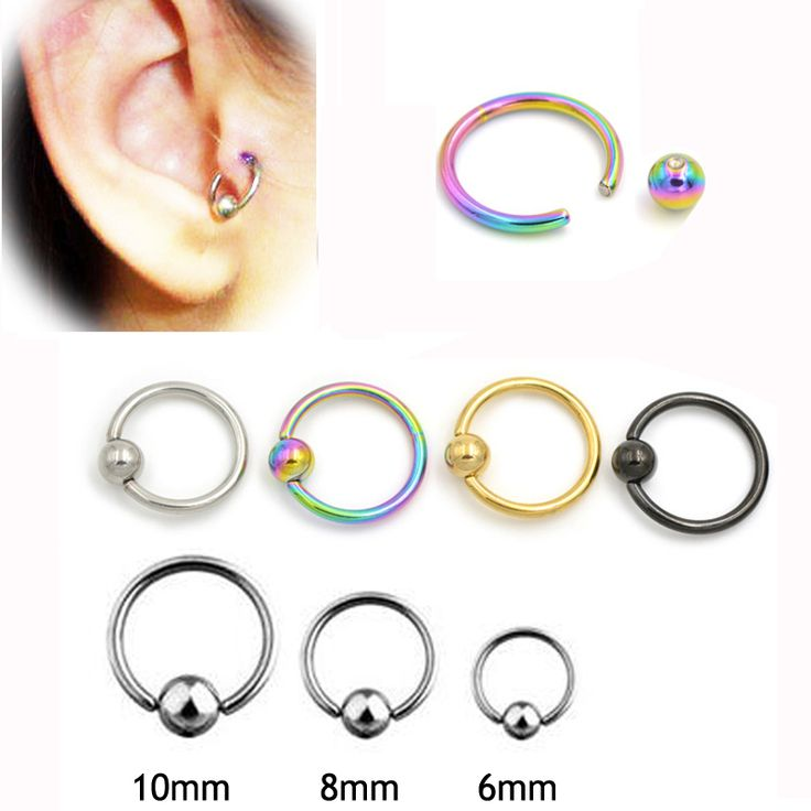 2 pieces 16G Titanium Captive Hoop Bead Rings BCR Eyebrow Tragus Nose Nipple Ring Bar Lips Body Piercing Jewelry