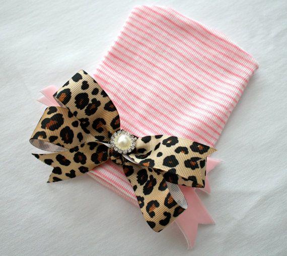 Newborn Pink Beanie Hat CottonStripes by BrooklynGraceBabies