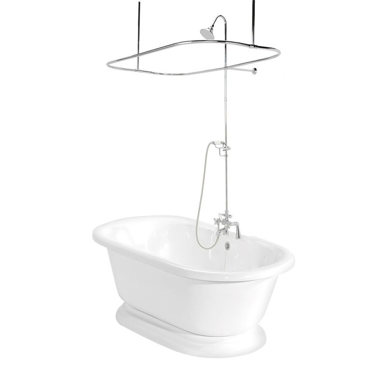 American Bath Factory Nobb Hill AcraStone Double Ended Bath Tub Faucet Package 2 in White - T100C  SKU #: ABF1046    $2744.42 ( Satin Nickel )    Bath tub package includes:        * 90 Series faucet      * Free standing pedestal      * Shower enclosure      * Hand shower and metal cross handles      * Waste, overflow and supply lines      Features:        * Bath tub      * Nobb Hill collection      * Faucet and accessories available in:            o Chrome finish            o Old world…