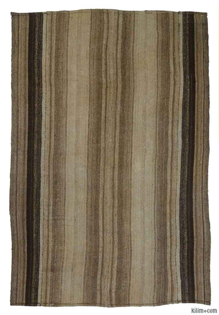 K0012483 Brown, Grey Vintage Turkish Kilim Rug | Kilim Rugs, Overdyed Vintage Rugs, Hand-made Turkish Rugs, Patchwork Carpets by Kilim.com