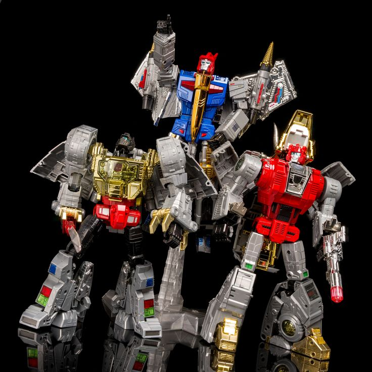 Transformers Masterpiece Grimlock, and FansToys FT-05 Soar and FT-04 Scoria
