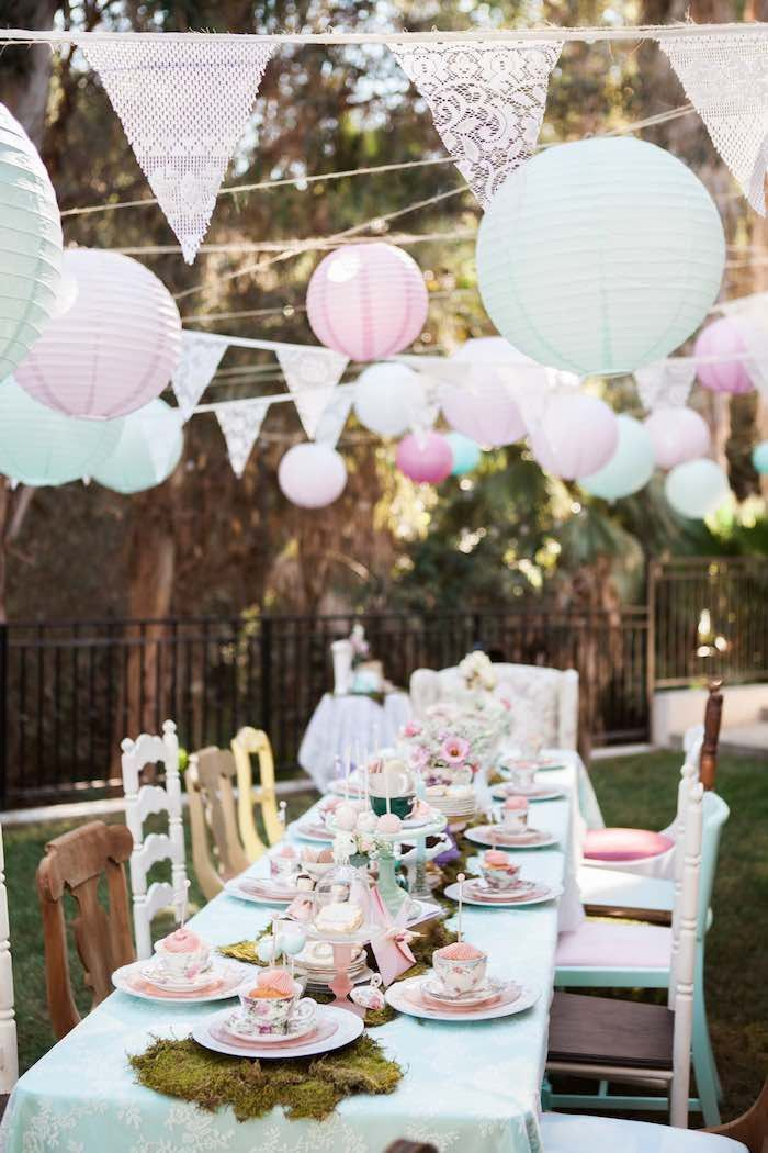 Dining Table From A Shabby Chic Alice In Wonderland Birthday Party Via Karas Ideas KarasPartyIdeas 49