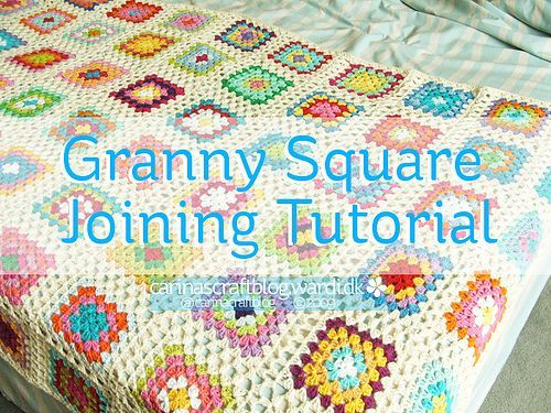 Crochet tutorial: joining granny squares - using a continuation of the granny square itself.  Looks nice and you can't really tell it is a 'join'