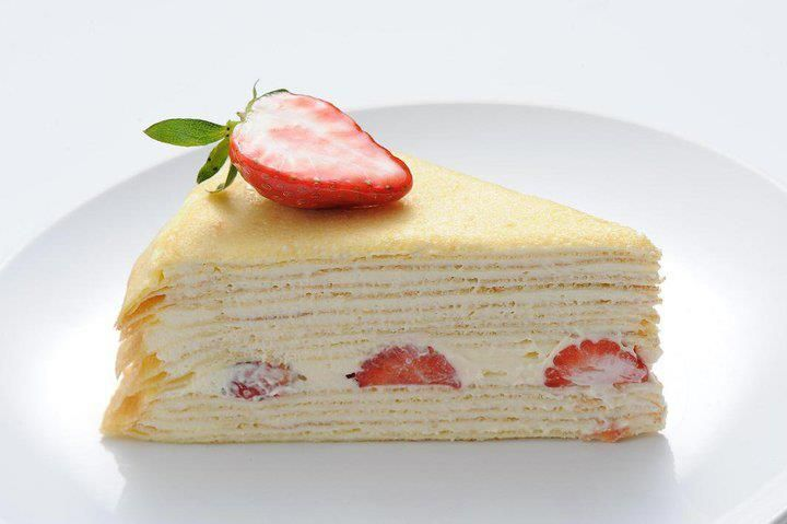 Strawberry Mille Crepe Cake -the interchanging layers of cream and crepe gives this sweet and interesting texture experience with ever bite.