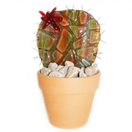 Handgemaakte glazen cactus in bloempot, decoratie cactus voor in huis! Uniek exemplaar!