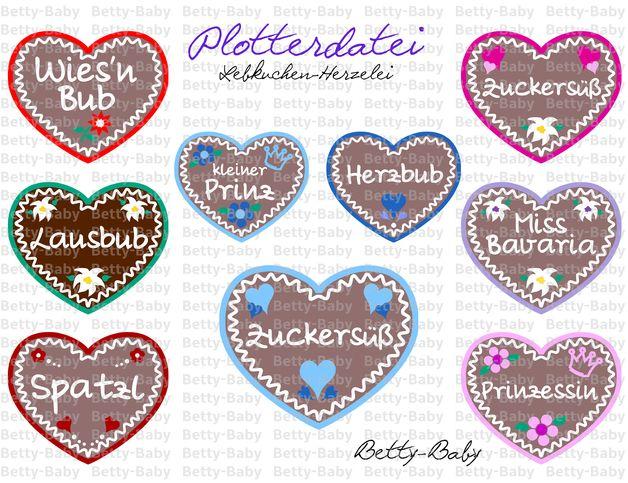 Bügelbilder - Plotterdatei ★ Lebkuchen-Herzelei ★ - ein Designerstück von Betty-Baby bei DaWanda