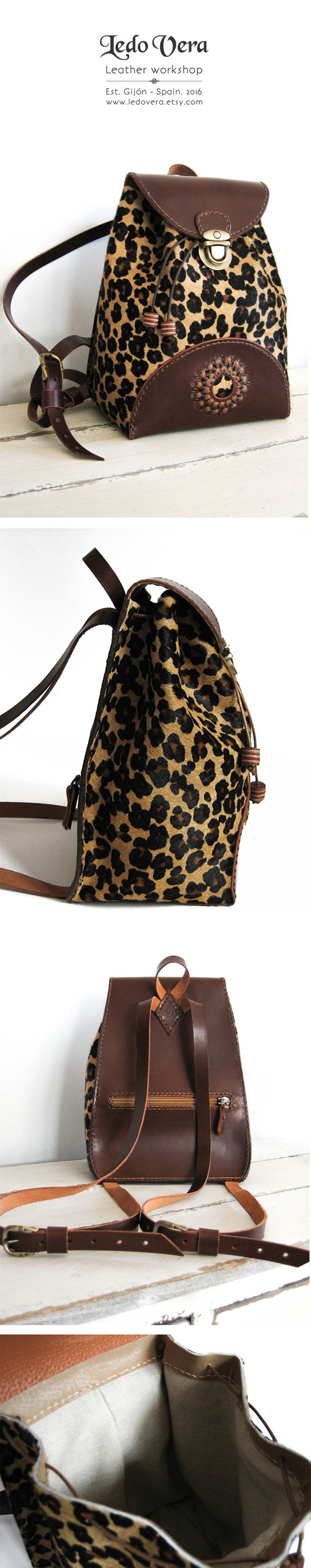 Small Backpack. Hair on cowhide with leopard print. Stylish leather backpack