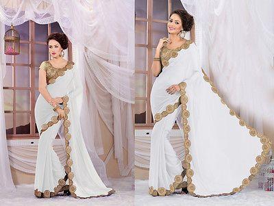 White Sari Indian Ethnic Wear Wedding Party Wear Georgette Sari Women Sari/Saree
