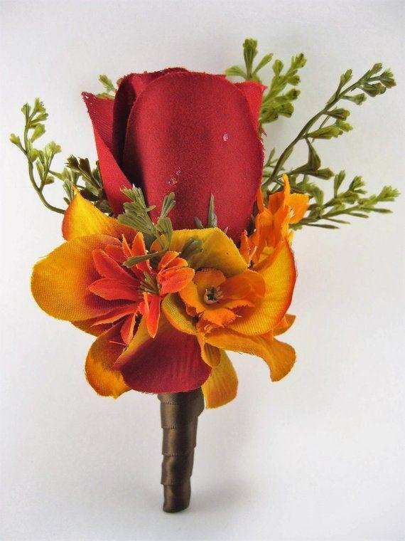 Fall Wedding Rustic Orange Red Rose Silk Flower Boutonniere U Pick Ribbon