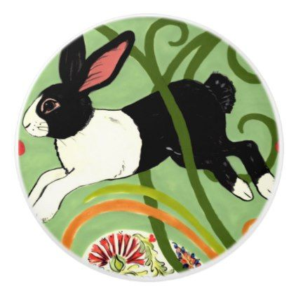 Dutch Rabbit Green Art Deco Drawer Pull Door Knob - spring gifts beautiful diy spring time new year
