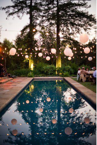 String of lanterns over pool.