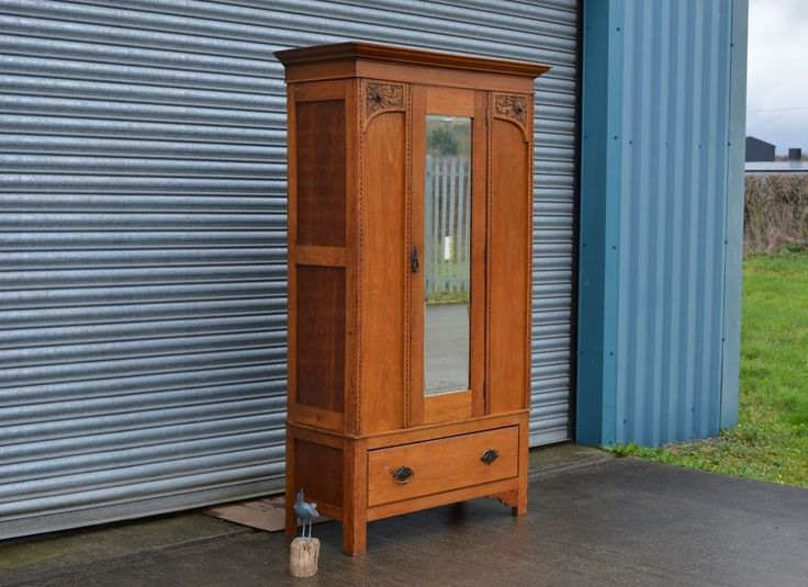 Vintage Oak Wardrobe With Drawer Antique Style.