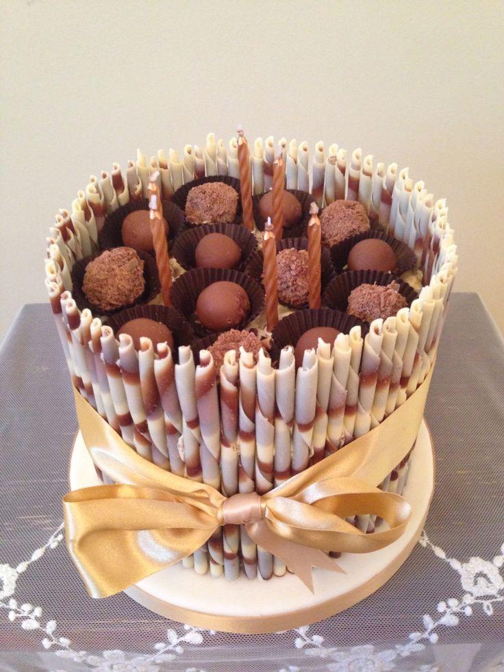 Chocolate cigarello cake with handmade truffles