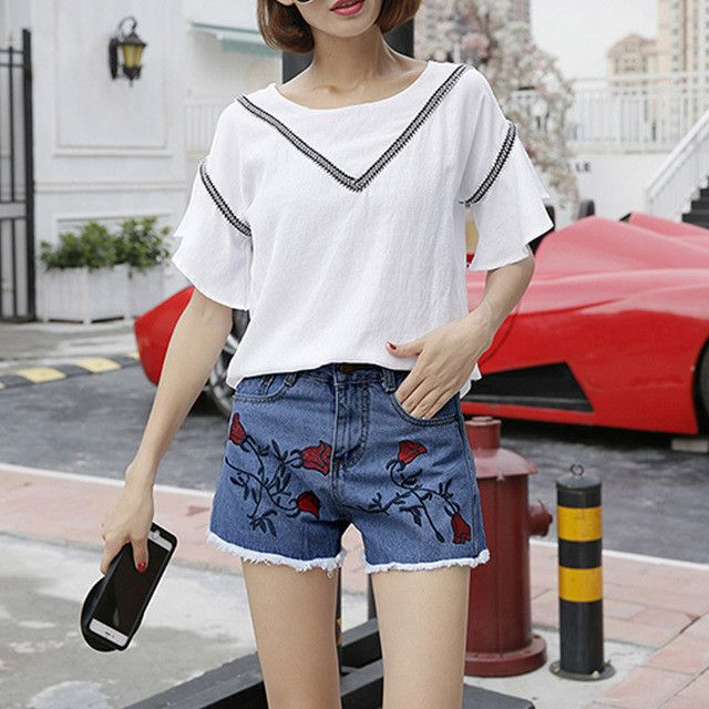 Floral Fashion Summer Jeans Shorts Brief Design High Waist Ladies Denim Shorts Embroidery Shorts For Woman pantalon corto mujer