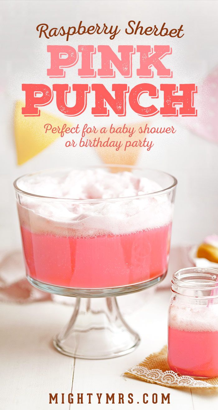 Raspberry Sherbet Pink Punch - This pretty pink punch is super easy and is  perfect for a baby shower, bridal shower, wedding shower, or a birthday  party.