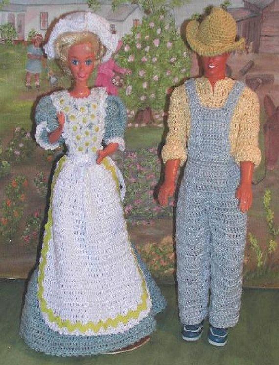 Crochet Fashion Doll Barbie & Ken Pattern- #245 MOM and DAD on the FARM