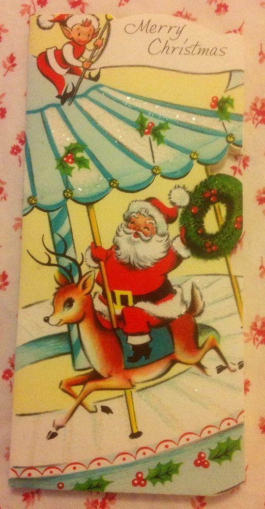 Vtg. 1950's Glittered Christmas Card Santa Claus, Reindeer, & Elf on Carousel