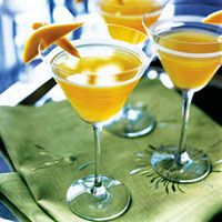 Mango Cocktail  Kick-start the evening with these tangy cocktails spiked with vodka and Cointreau.