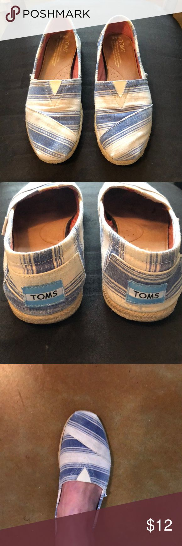 TOMS Espadrilles- Sz 6 1/2 Used Toms in good condition. These are umbrella striped blue/white Vegan Linen Classic Espadrilles. I wear a 7 except in these, I take 6 1/2.  I recommend these only if you are a 7! Make no mistake, these Toms are very used but still have a lot of life left. No defects or stains other than normal wear. TOMS Shoes Espadrilles