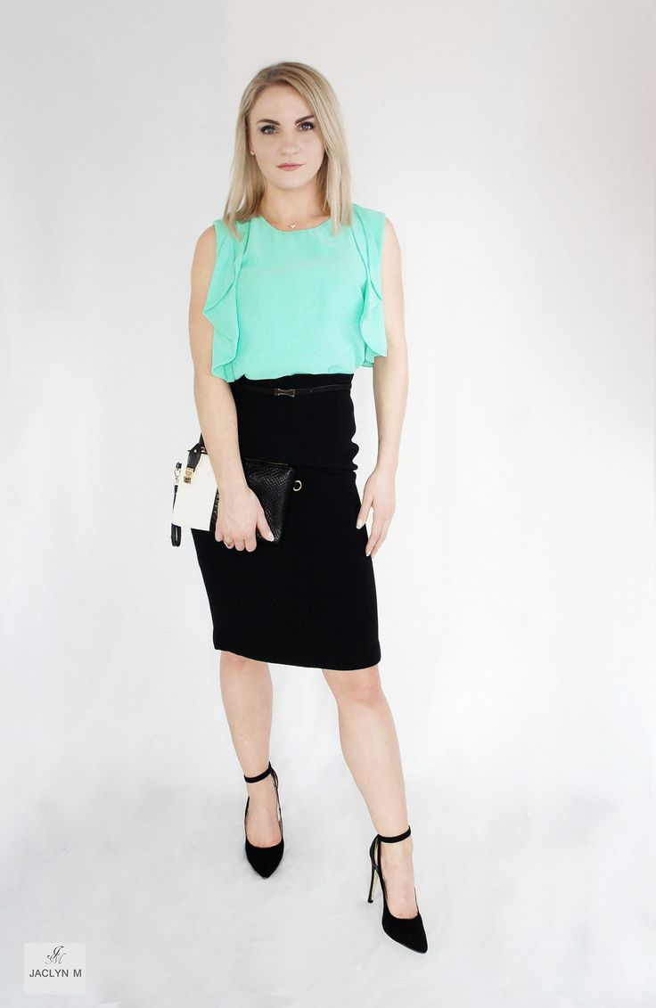 JACLYN M- Alexis drape blouse- Penny Pencil highwaist skirt