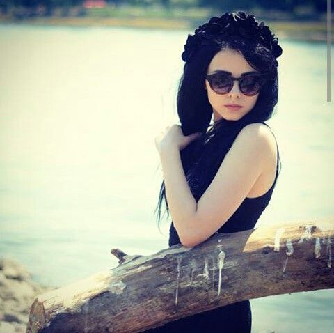 #black #long #hair #sunglasses #black #dress