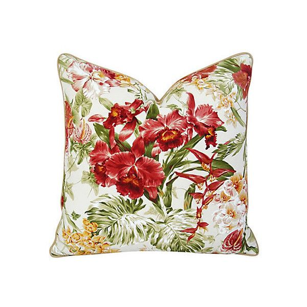 Pre-Owned Tropical Orchid Barkcloth & Linen Pillow (3 865 UAH) ❤ liked on Polyvore featuring home, home decor, throw pillows, linen throw pillows, orchid throw pillows, floral throw pillows, flower stem and flower home decor