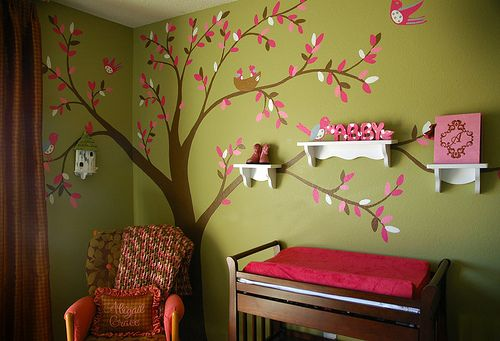 Possibly on light pink walls with dark pink leaves and blue birds?  Too much pink?  Not if you're a 4 year old girl.